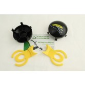 Yellow Quick release tab for all for Powakaddy trolleys, for black 5 spoke wheel