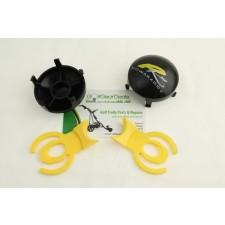 Yellow Quick release tab for all for Powakaddy trolleys, for black 5 spoke wheel